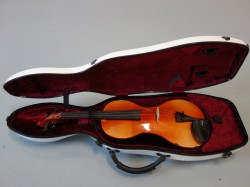Shaped violin case with carbon